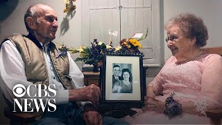 Elderly man lights up seeing wife of 72 years on their anniversary