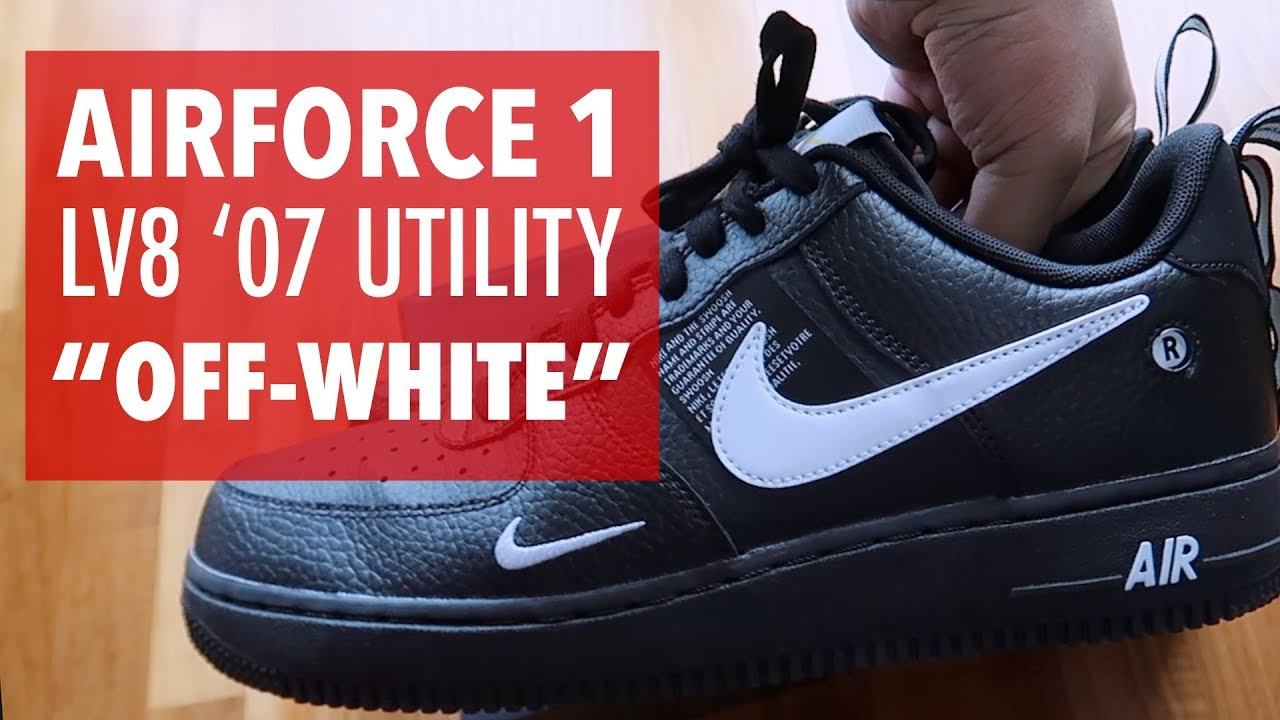 eb9ff8561e2 Nike Air Force 1 '07 Lv8 Utility Poor man's Off-white | Unboxing ...