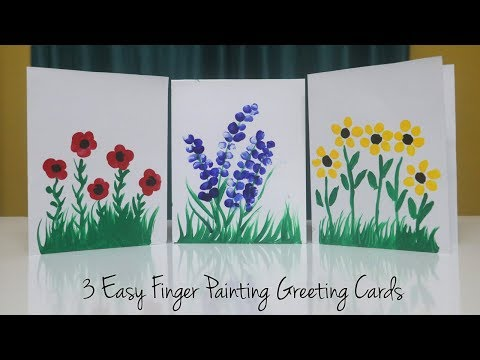 3 EASY Finger Painting Greeting Card Ideas | Teacher's Day Card Kids Can Make