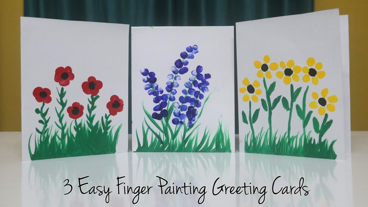 3 Easy Finger Painting Greeting Card Ideas Teachers Day Card Kids Can Make