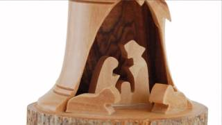 Olive Wood Nativity Bell Ornament, 3-d