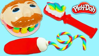 Brushing Mr. Play Doh Head's Teeth with DIY Rainbow Play Dough Toothpaste and Toothbrush!