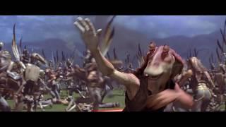 Энакин на звездолёте. Джа-Джа сражается с дроидами. Королева Амидала и отряд. HD