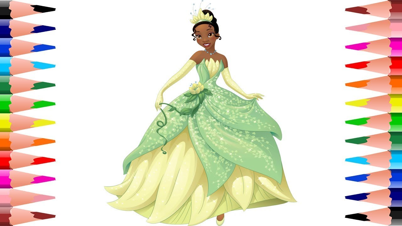 Painting Tiana Disney Princess Coloring Book - Coloring for Kids ...
