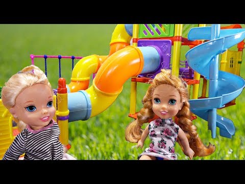 Elsa and Anna toddlers at the soft play area with Barbie, Chelsea & friends