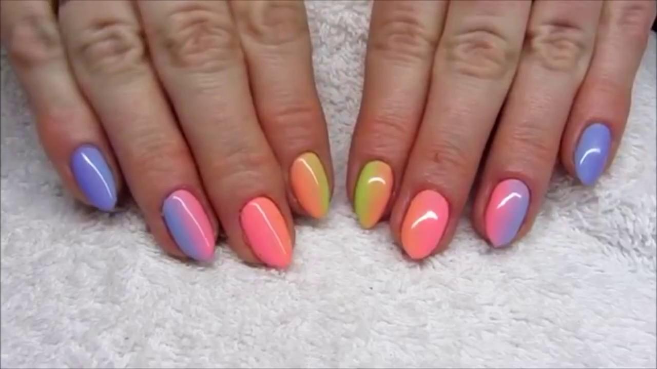 Дизайн ногтей гель-лак shellac - Обратный френч + блестки (видео .