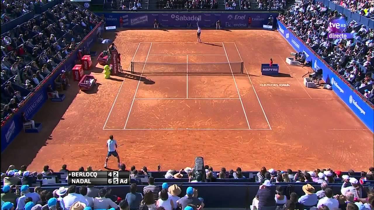 Nadal berlocq ballgirl almost hit barcelona open banc - Oficinas banc sabadell barcelona ...