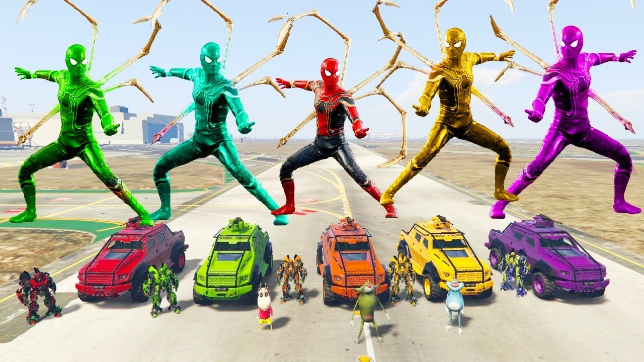 GTA 5 : SHINCHAN FOUND SECRET IRON SPIDER SUIT FROM SPIDERMAN BASE WITH BUMBLEBEE OGGY & JACK #171