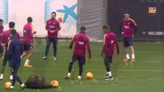 Messi and Neymar skills during FC Barcelona training session
