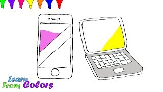 Smartphone Laptop & Mobile Phone Coloring Pages For Kids