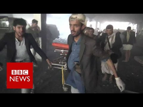 Yemen: More than 140 killed by air strikes at funeral - BBC News