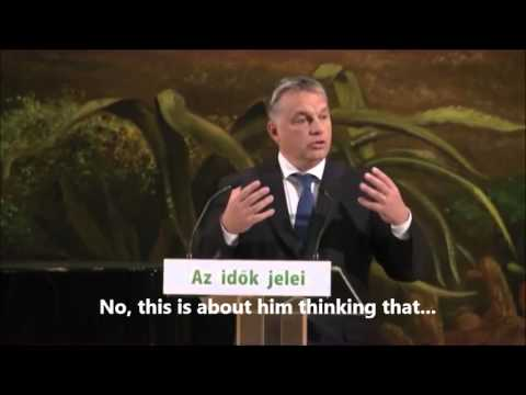 """Viktor Orbán Jokes about Austria's """"Gate with Long Wings"""" 2015. 10. 30"""