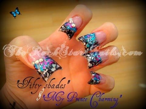 Fifty shades & my prince charming acrylic nails