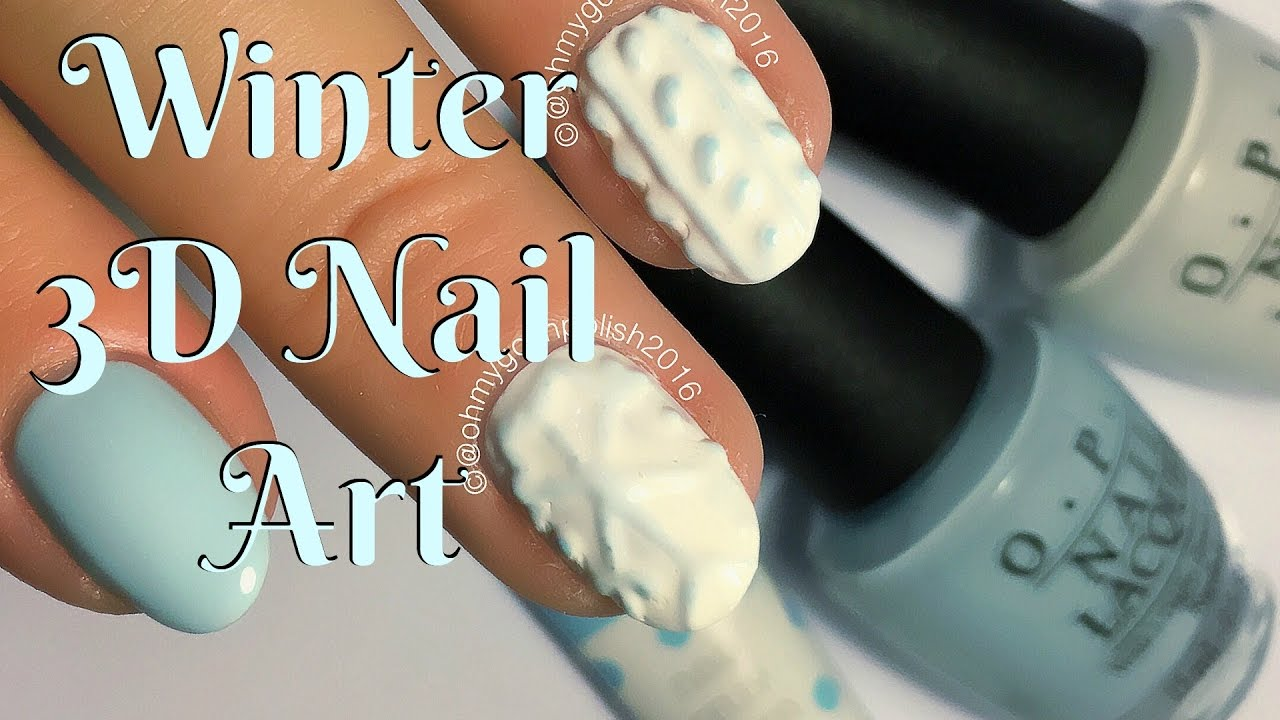 3D GEL NAIL ART - WINTER WOOLY - YouTube