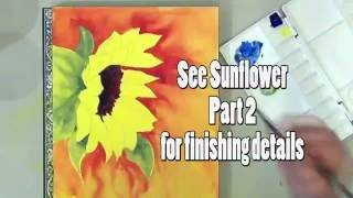 how to paint a sunflower in watercolor part 1