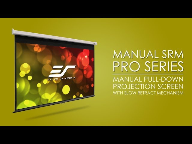 Elite Screens Manual SRM Pro Series - Manual Pull Down Projector Screen with Slow Retract Mechanism