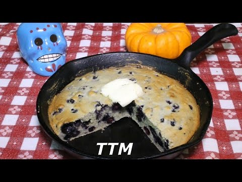 Easy Blueberry Cornbread In A Cast Iron Skillet~Simple Baking~Toaster Oven Recipe