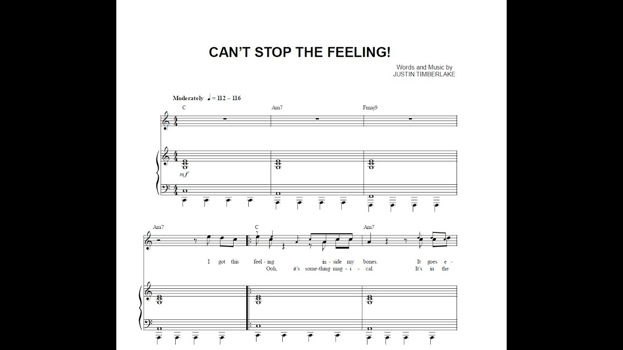 Can T Stop The Feeling Sheet Music Timiznceptzmusic