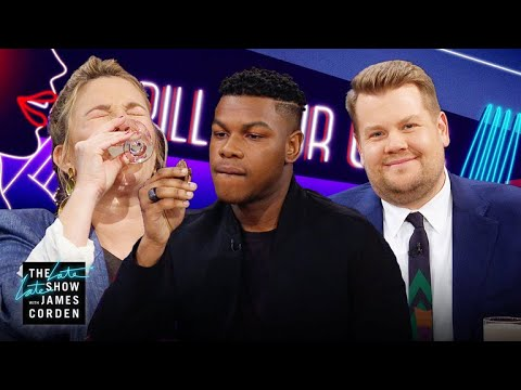 Spill Your Guts or Fill Your Guts w/ Drew Barrymore & John Boyega: James invites his guests Drew Barrymore and John Boyega for a game of Spill Your Guts, where each of them are posed with both a disgusting food, like turkey testicles, and a hard-hitting question. Each must decide: answer the question truthfully or eat what's in front of them.  More Late Late Show: Subscribe: http://bit.ly/CordenYouTube Watch Full Episodes: http://bit.ly/1ENyPw4 Facebook: http://on.fb.me/19PIHLC Twitter: http://bit.ly/1Iv0q6k Instagram: http://bit.ly/latelategram  Watch The Late Late Show with James Corden weeknights at 12:35 AM ET/11:35 PM CT. Only on CBS.  Get new episodes of shows you love across devices the next day, stream live TV, and watch full seasons of CBS fan favorites anytime, anywhere with CBS All Access. Try it free! http://bit.ly/1OQA29B  --- Each week night, THE LATE LATE SHOW with JAMES CORDEN throws the ultimate late night after party with a mix of celebrity guests, edgy musical acts, games and sketches. Corden differentiates his show by offering viewers a peek behind-the-scenes into the green room, bringing all of his guests out at once and lending his musical and acting talents to various sketches. Additionally, bandleader Reggie Watts and the house band provide original, improvised music throughout the show. Since Corden took the reigns as host in March 2015, he has quickly become known for generating buzzworthy viral videos, such as Carpool Karaoke.