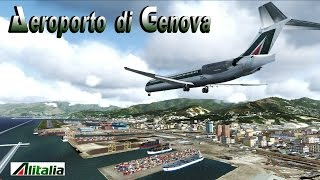 FSX [HD] - Alitalia MD80 | Approach to Sestri Cristoforo Colombo Airport | Genoa, Italy