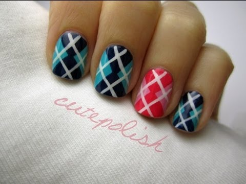 Cute argyle nail art youtube cute argyle nail art cutepolish prinsesfo Image collections