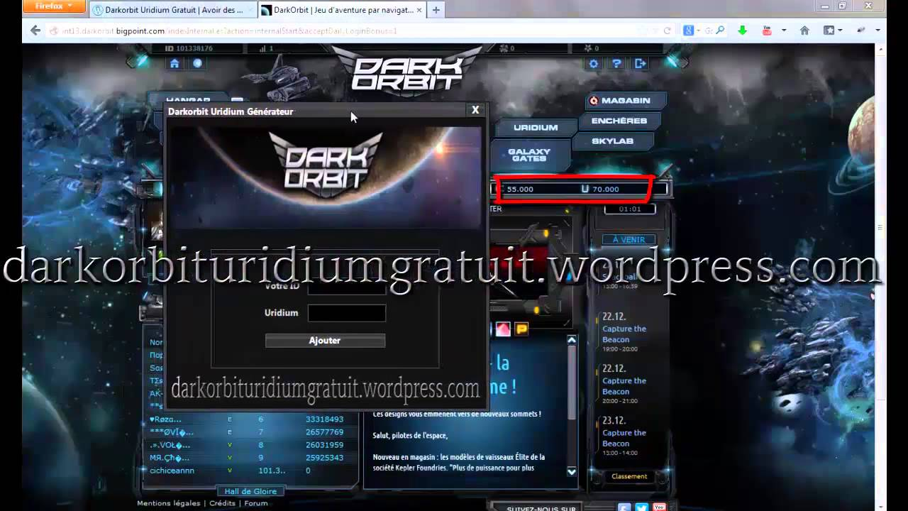 hack dark orbit uridium v3 gratuit