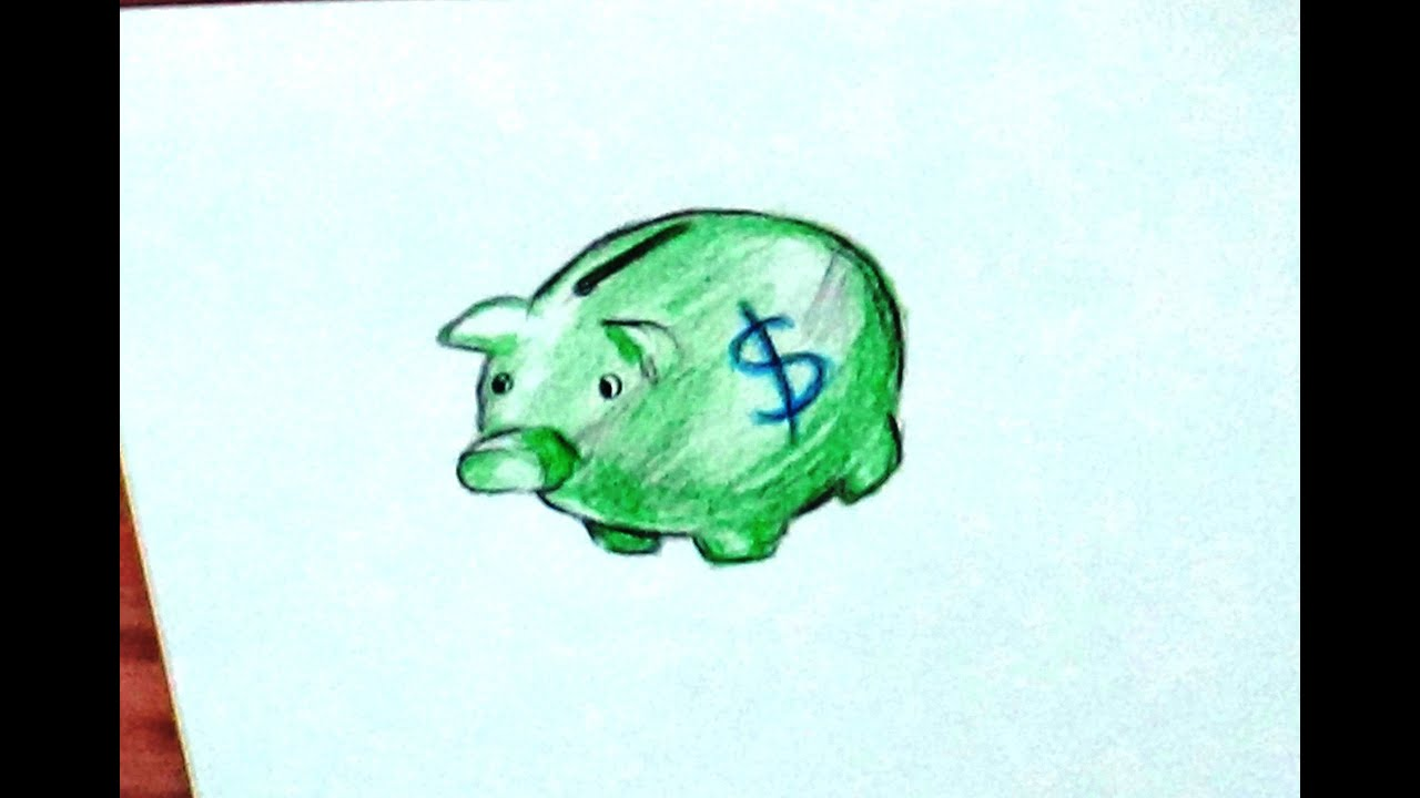 Line Drawing Piggy Bank : How to draw piggy bank make and color