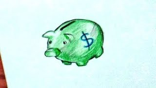 How To Draw Piggy Bank / How To Make And Color Piggy Bank