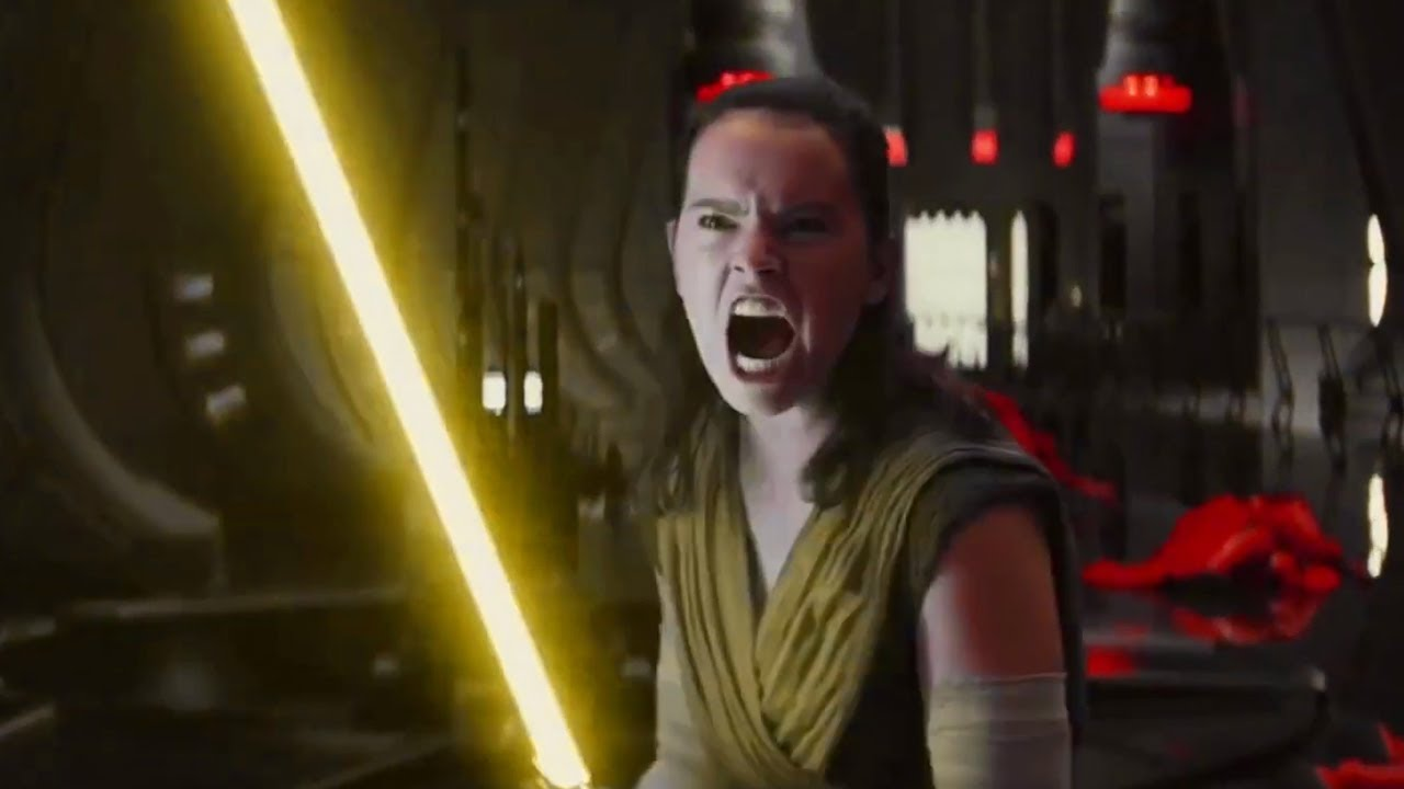 Rey Using A Yellow Lightsaber Throne Room Scene Youtube