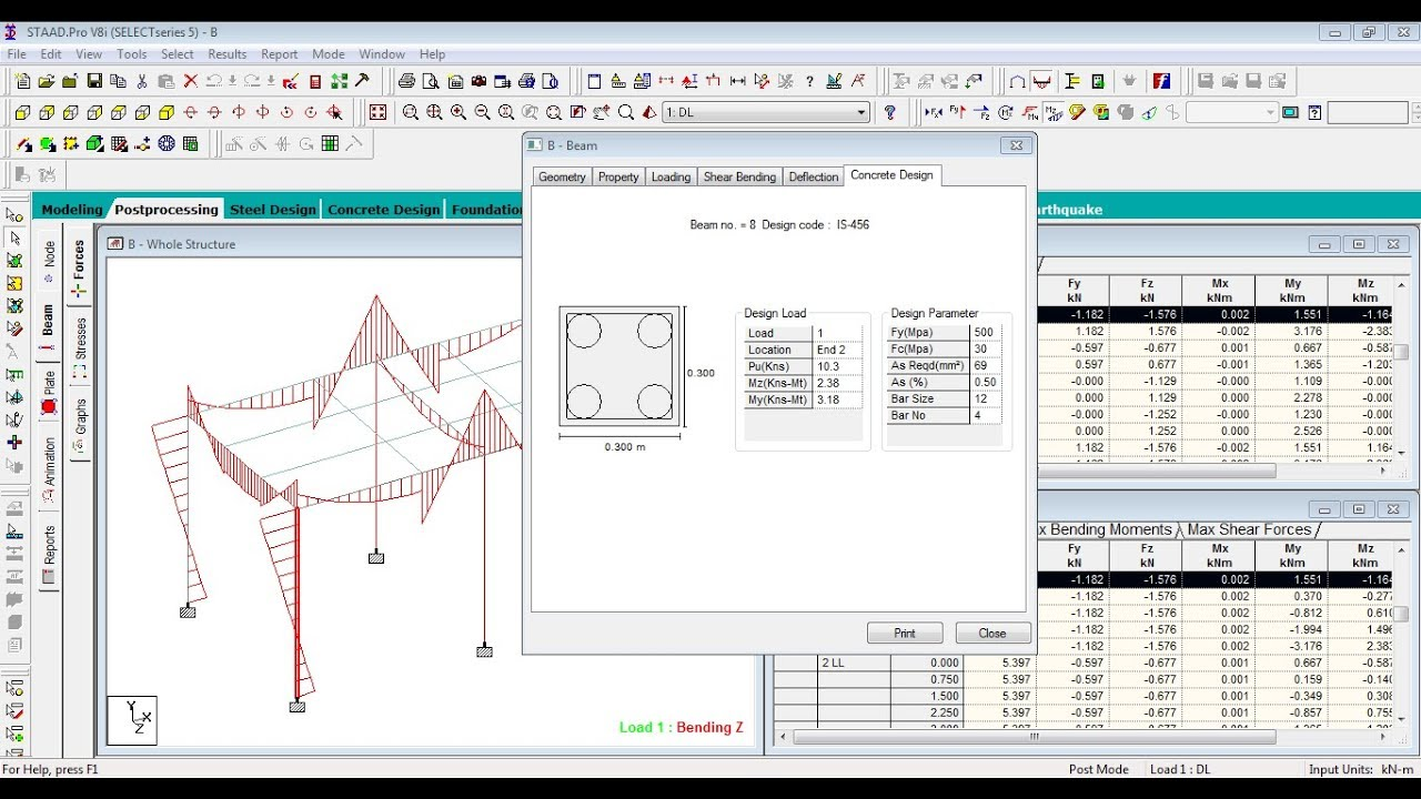 Beam Column Slab And Foundation Design By Using Staad Pro V8i Software Youtube