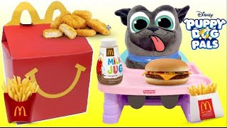 Nat and Essie Eat a McDonalds Happy Meal with Puppy Dog Pals Bingo