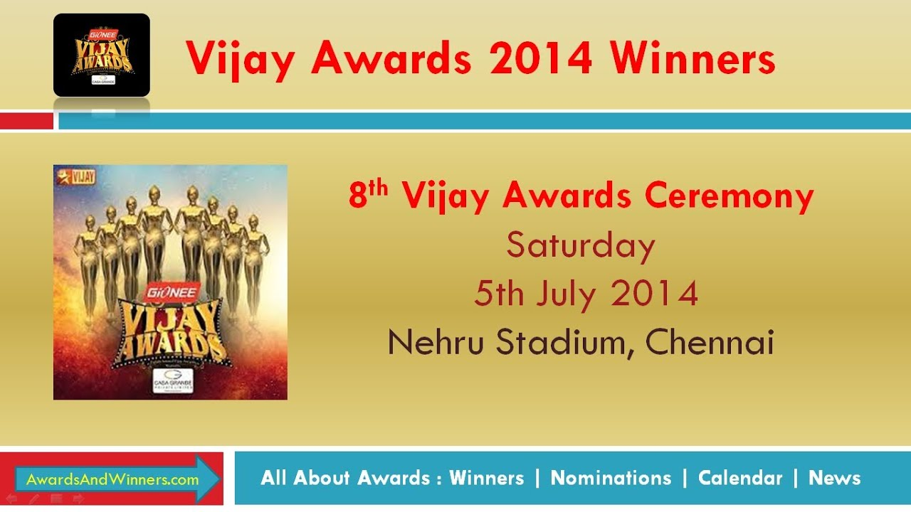 8th Vijay Awards 2014 – Full List of Winners | Awards & Winners