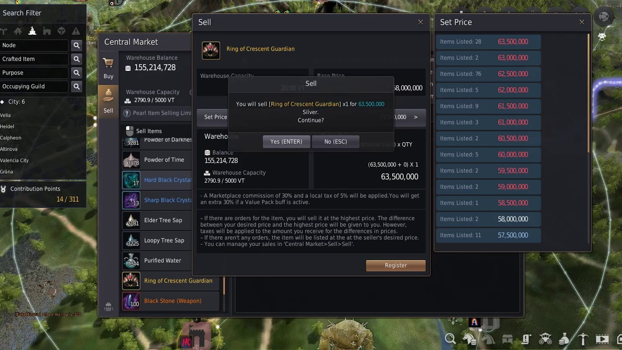 Black Desert Online - Using the new Central Market to sell and pre-order  some stuff