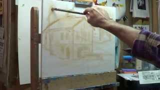 Oil painting demo. Drawing. Wipe off bad start. Boat house commission