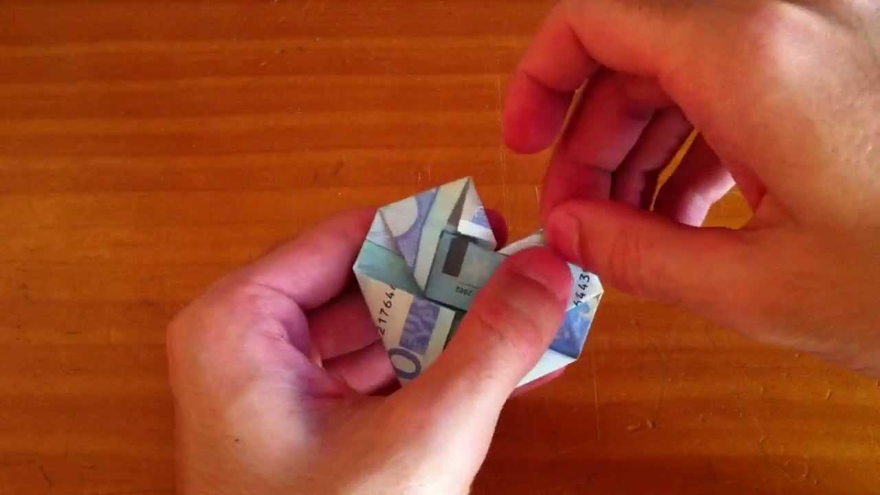 Tutorial de origami c mo hacer un coraz n con un billete - Como hacer un estor enrollable paso a paso ...