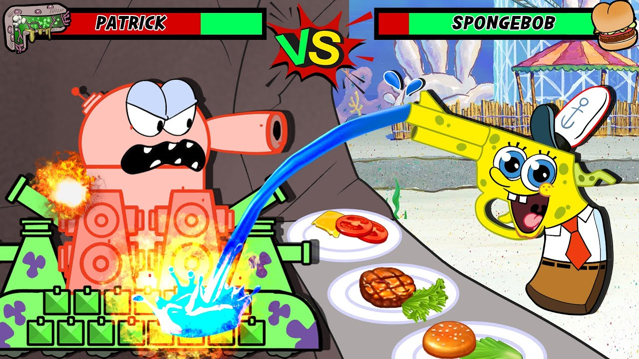 Patrick that's a Hamburger But he is a gun!🍔🔫 Cheeseberger Mukbang animation | SPONGEBOB ANIMATION