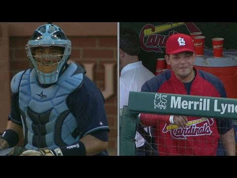 Yadier Molina leaves crackers for his brother, Jose, at the plate