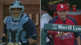 Yadi leaves crackers for brother at the plate