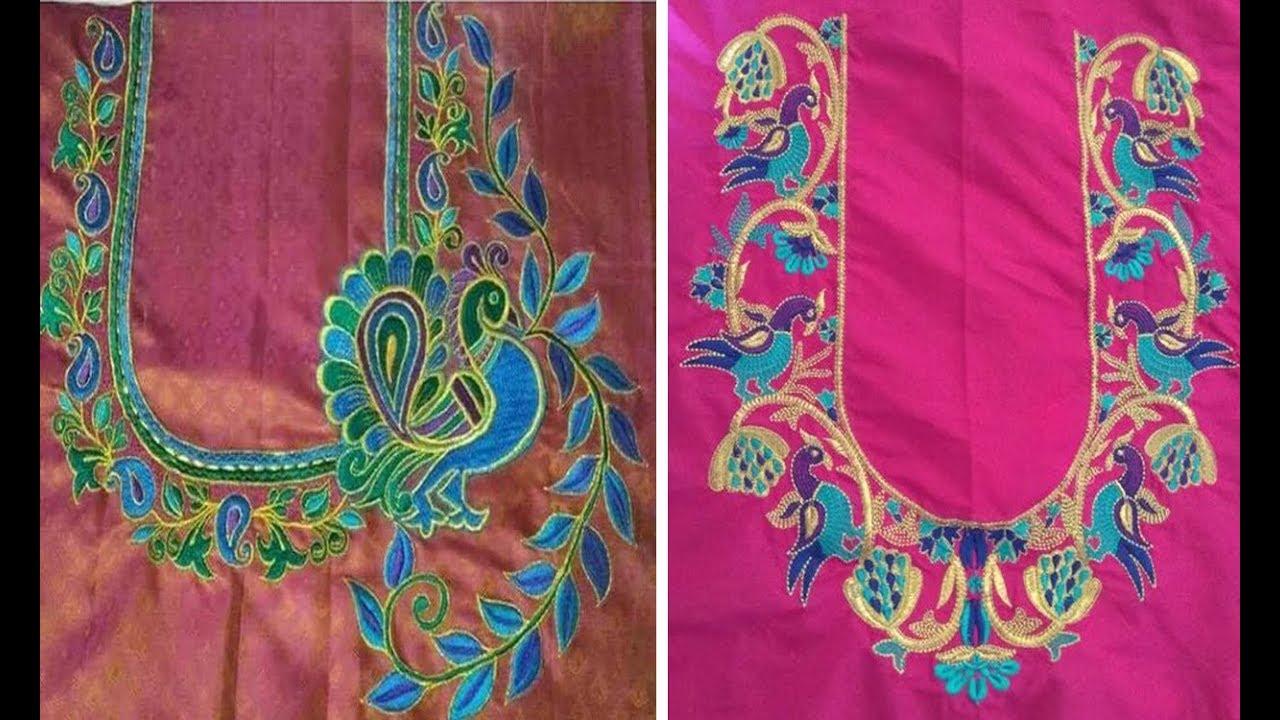 41e9ddadac4f33 Very Beautiful Thread Embroidery Work Blouse Design For Silk Saree | Silk  Saree Blouse Design | Aari