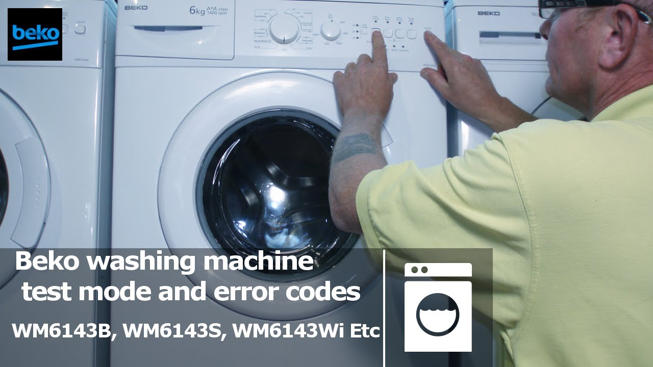 hight resolution of test mode diagnostic beko wm6143b wm6143s wm6143w washing machine to repair faults and test errors youtube