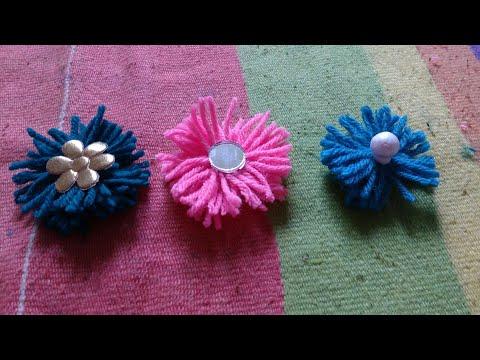 Woolen Crafts|Woolen Flowers Making|Woolen Thread Craft|Woolen|Work|Designs|Flowers|Making at Home..
