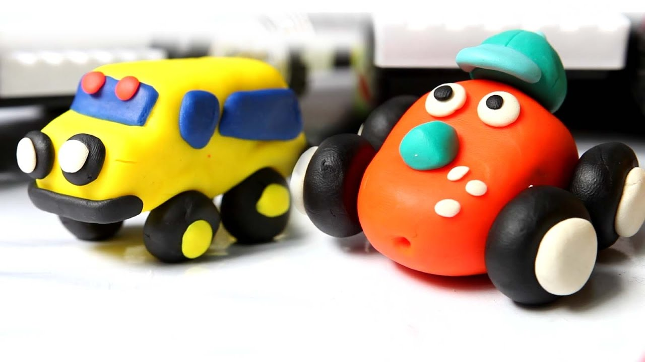 play doh toys for kids clay modeling of yellow car and red car
