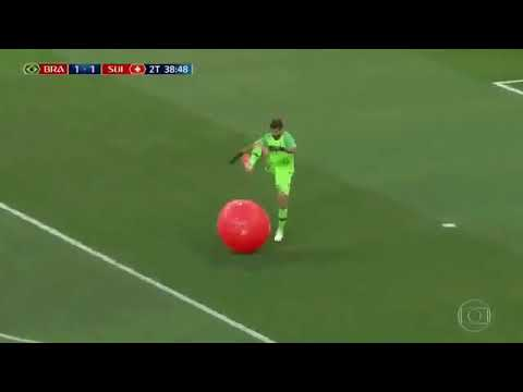 Alisson pops balloon during Brazil vs Switzerland