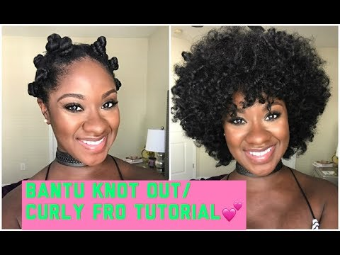 NATURAL HAIR: Bantu Knot Out/Curly Fro Tutorial - TYPE 4 HAIR