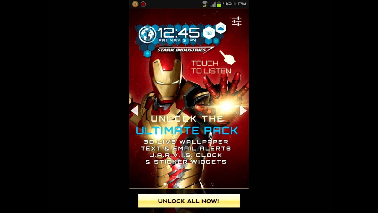 "iron man 3d live wallpaper premium unlock "" f r e e ' - youtube"