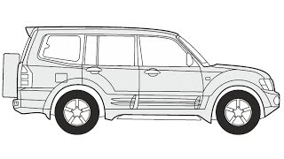 How to Draw a Mitsubishi Pajero 5 / Как нарисовать Mitsubishi Pajero 5