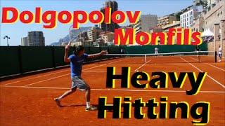 Tennis Pro Practice   Monfils - Dolgopolov Heavy Hitting