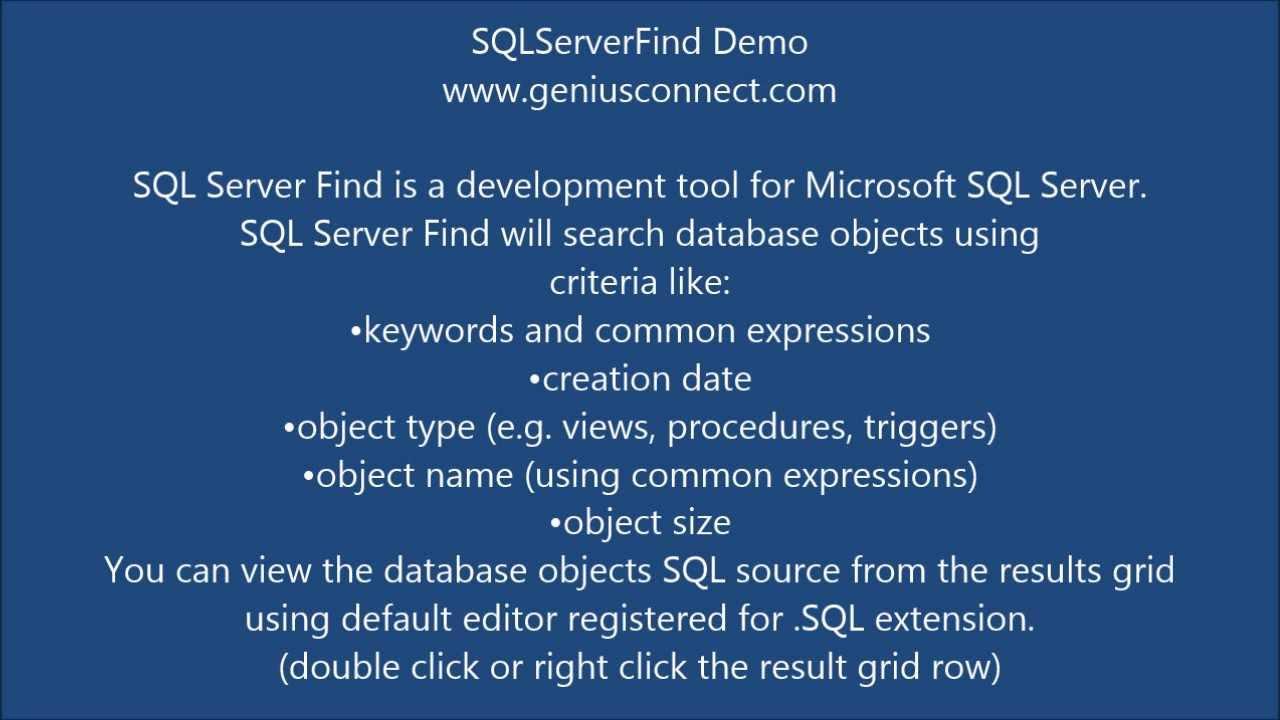 SQL Server Find - GeniusConnect