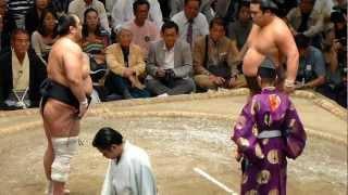 安美錦vs妙義龍、三役揃い踏み~勝ち名乗りまで(平成24年9月場所千秋楽)