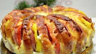 Быстрый Пирог из Батона! Пирог с Колбасой и Помидором под Сыром! Ну Очень Вкусно!!!